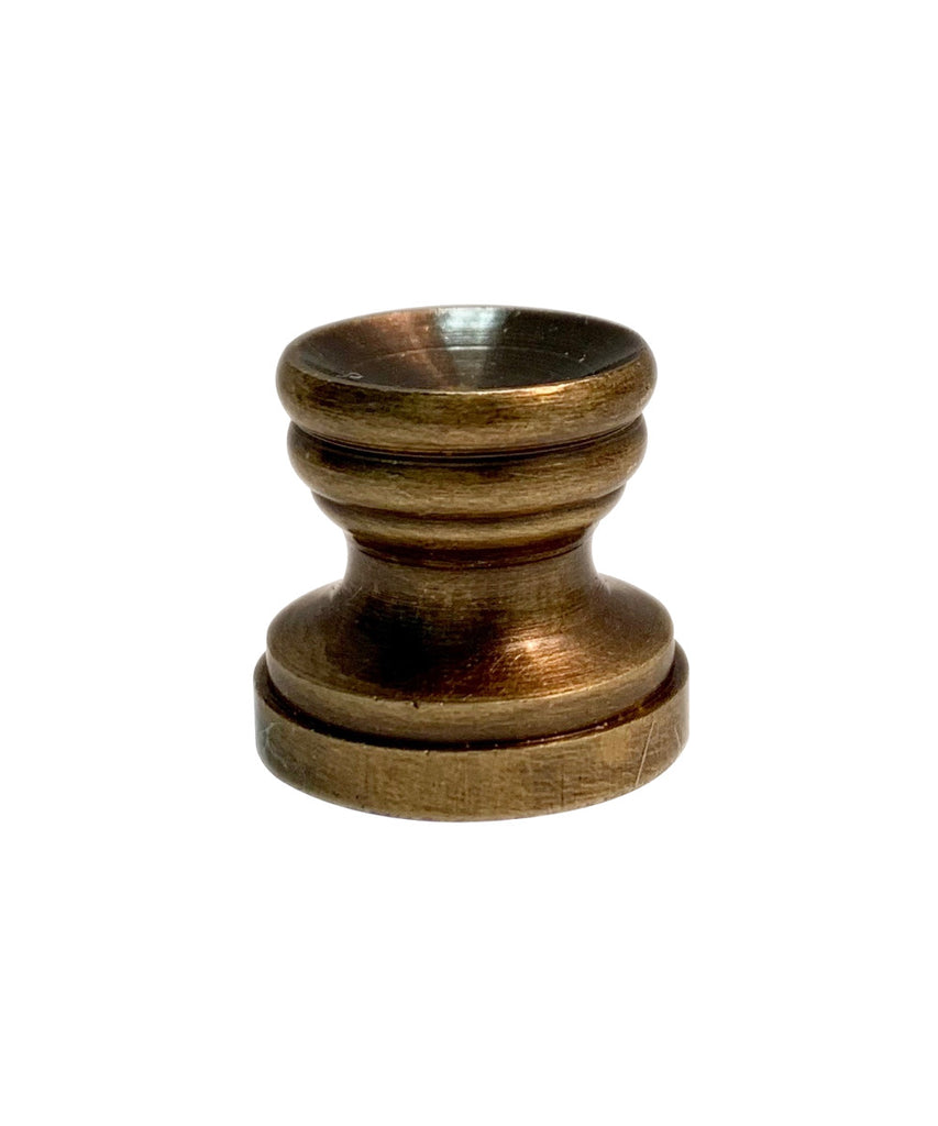 "0-003167>Antiqued Lamp Finial BASE ONLY Antiqued Brass 0.65""h"