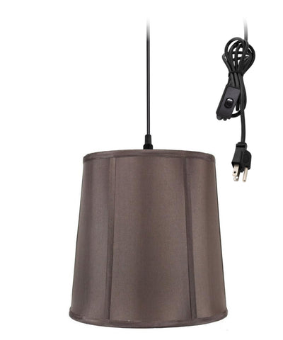 0-002000>1-Light Plug In Swag Pendant Lamp Chocolate Shade