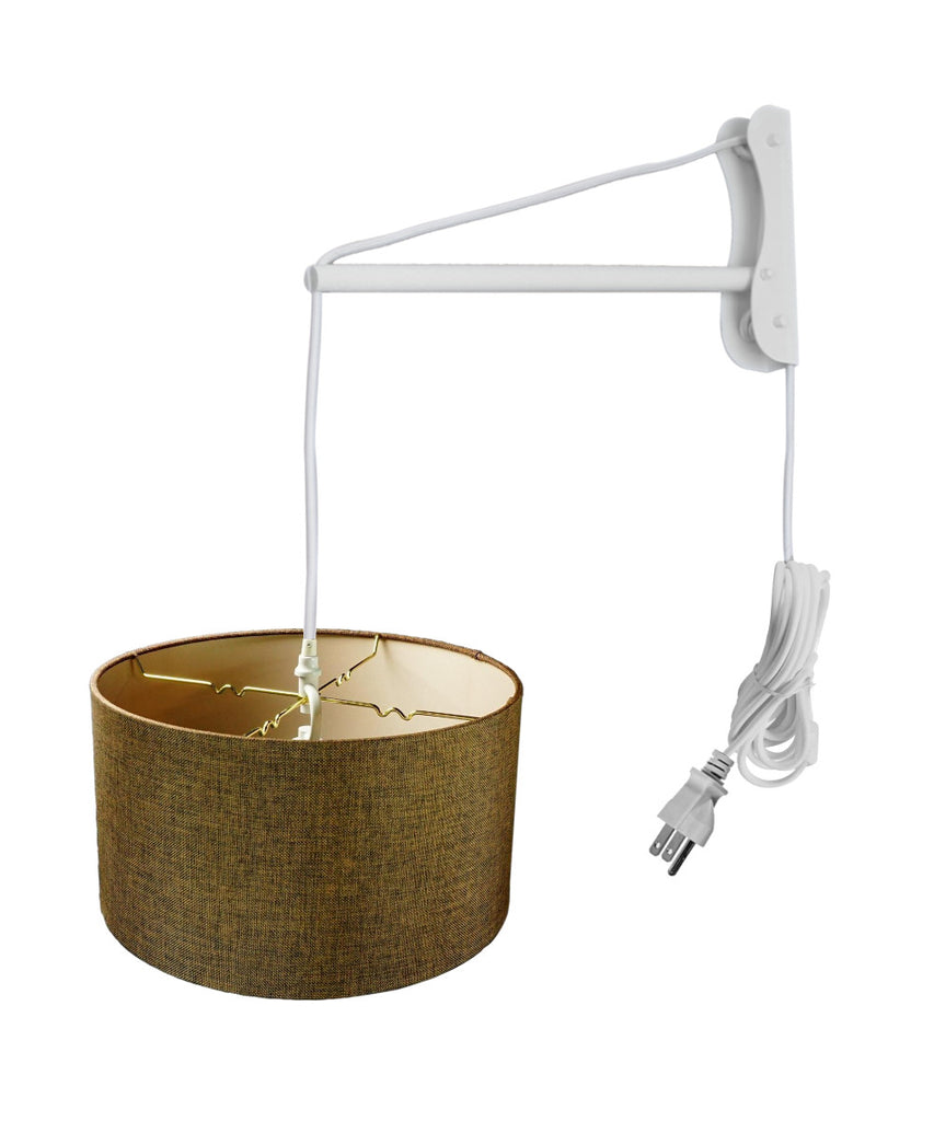 0-001608>MAST Plug-In Wall Mount Pendant, 2 Light White Cord/Arm with Diffuser, Chocolate Burlap Shade 16x16x08
