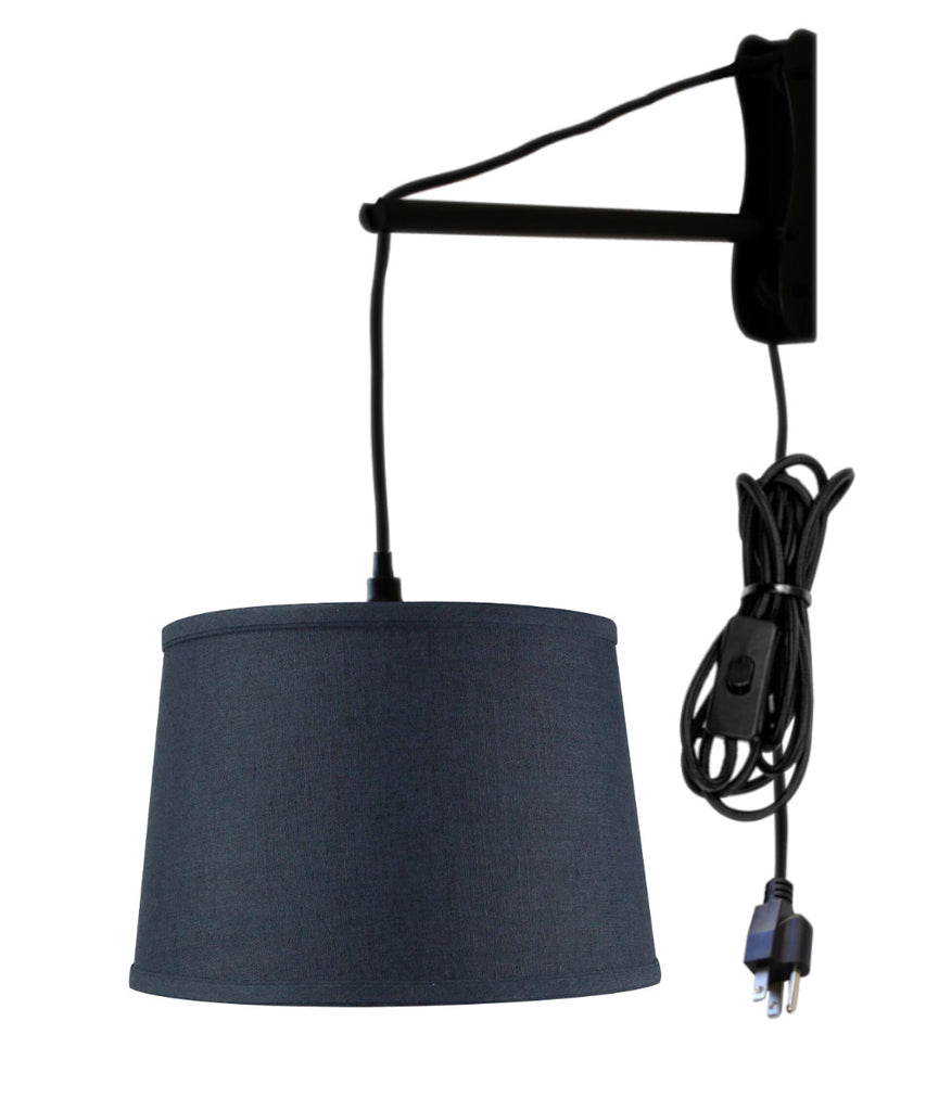 MAST Plug-In Wall Mount Pendant, 1 Light Black Cord/Arm, Shallow Drum Textured Slate Blue Shade, 14x16x10