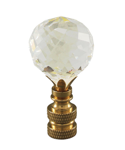 "0-000989>Faceted Crystal Ball Polished Brass Finial 2""h"