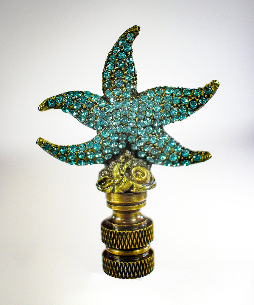 "0-001090>Starfish with Aegean Blue Glass Lamp Finial Antique Metal 2.5""h"