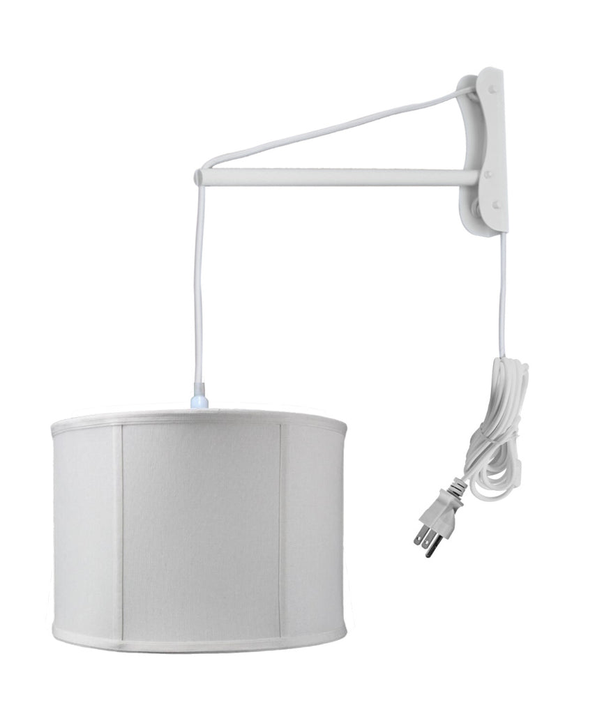 0-002985>MAST Plug-In Wall Mount Pendant, 1 Light White Cord/Arm, Light Oatmeal Shade 14x14x10