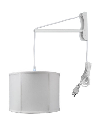 MAST Plug-In Wall Mount Pendant, 1 Light White Cord/Arm, Light Oatmeal Shade 14x14x10
