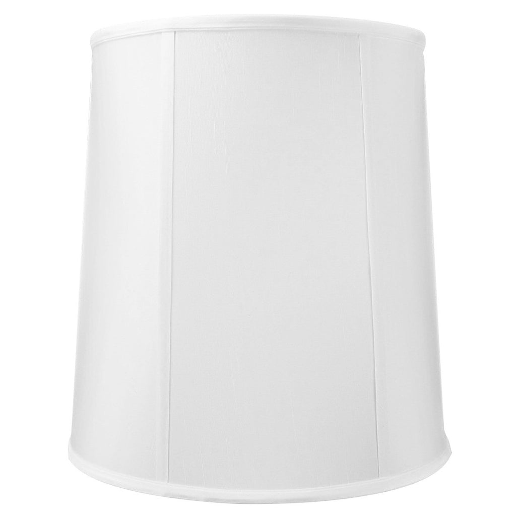 0-000450>12x14x15 White Linen Fabric Drum Lampshade