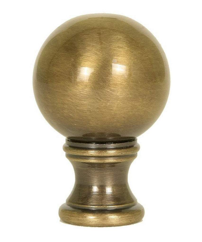 "Solid Sphere Round Lamp Finial Antique Brass 1.75""h"