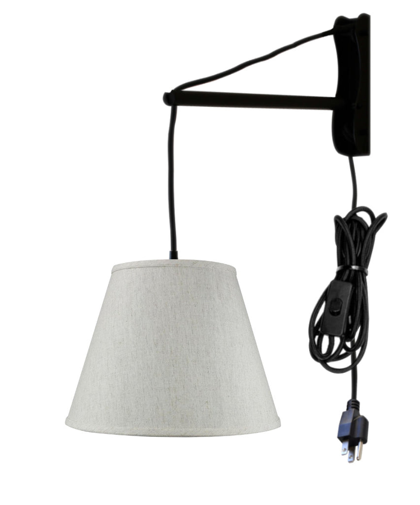 0-001795>MAST Plug-In Wall Mount Pendant, 1 Light Black Cord/Arm, Textured Oatmeal Shade 09x16x12