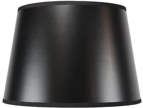 0-000329>11x14x 9.5 Black Drum Parchment Lamp