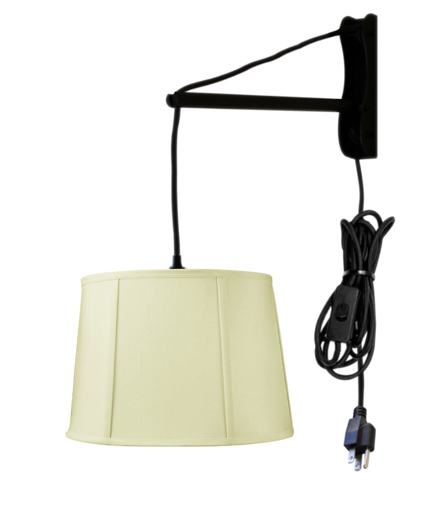MAST Plug-In Wall Mount Pendant, 1 Light Black Cord/Arm, Drum Egg Shell Shantung Shade 10x12x08