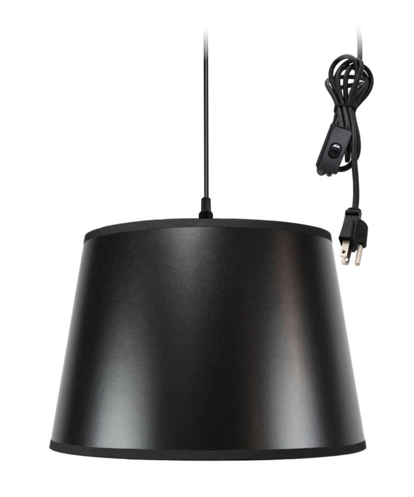 0-002000>1-Light Plug In Swag Pendant Lamp Black Shade