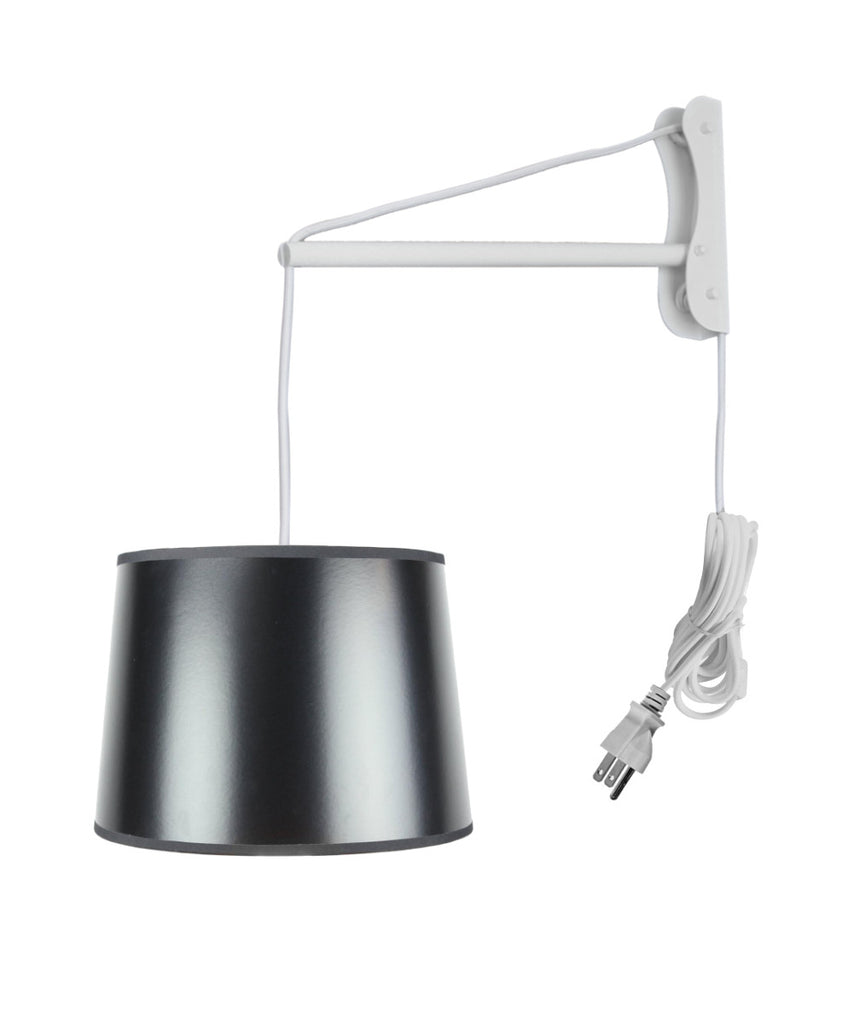 MAST Plug-In Wall Mount Pendant, 2 Light White Cord/Arm with Diffuser, Black Gold-Lined Shade 12x14x10