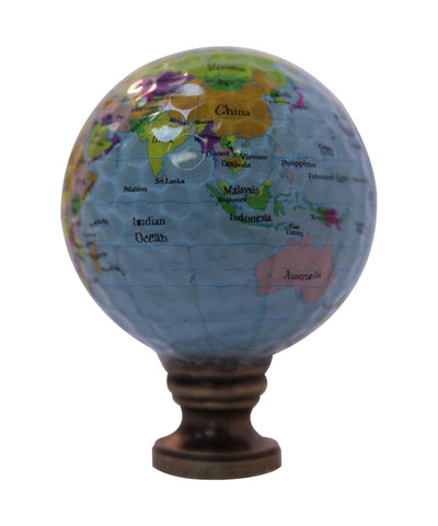 "0-009305>Earth Globe Lamp Finial, Blue Water with Colored Land Pattern, 2.25""h"