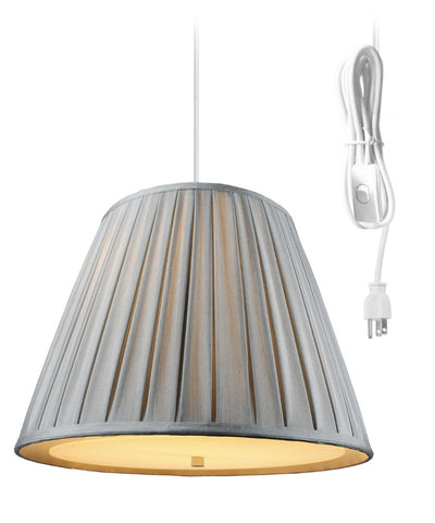 0-002061>Empire Box Pleat Shantung Gray 2 Light Swag Plug-In Pendant with Diffuser