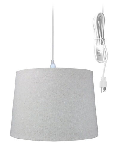 0-000139>1-Light Plug In Swag Pendant Ceiling Light Sand Linen Shade