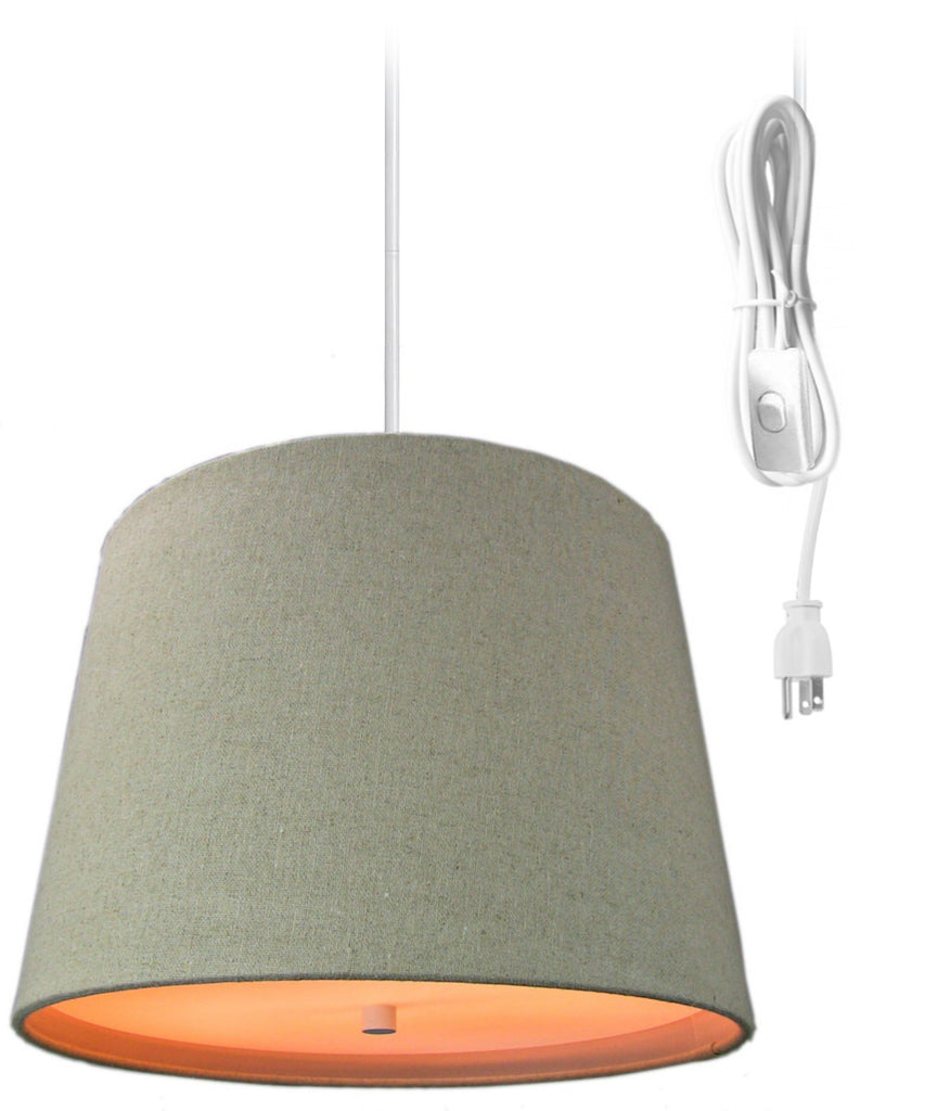 0-002066>Sand Linen  2 Light Swag Plug-In Pendant with Diffuser