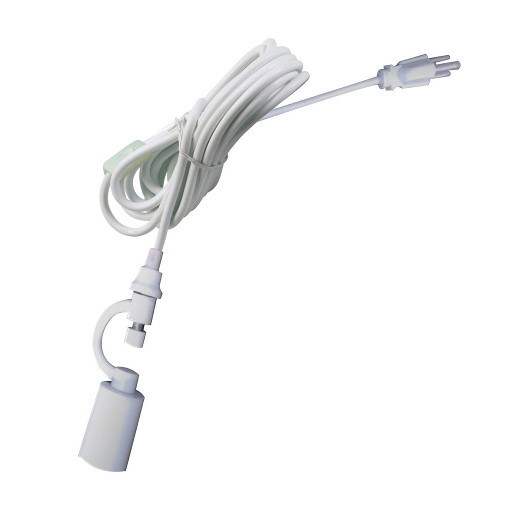 1-Light Plug In Swag Pendant Lamp White Shade