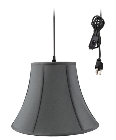 0-002000>Swag Pendant Plug-In One Light Black/Gold Shade