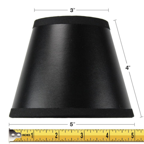 0-000449>3x5x4 Black Parchment Gold-Lined Chandelier Candle Clip Lamp Shade