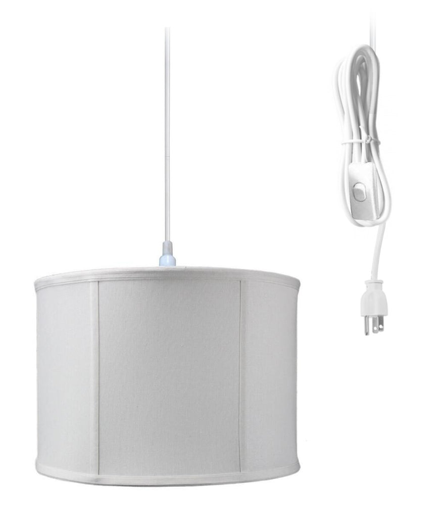 0-000075>1-Light Plug In Swag Pendant Ceiling Light Light Oatmeal Shade