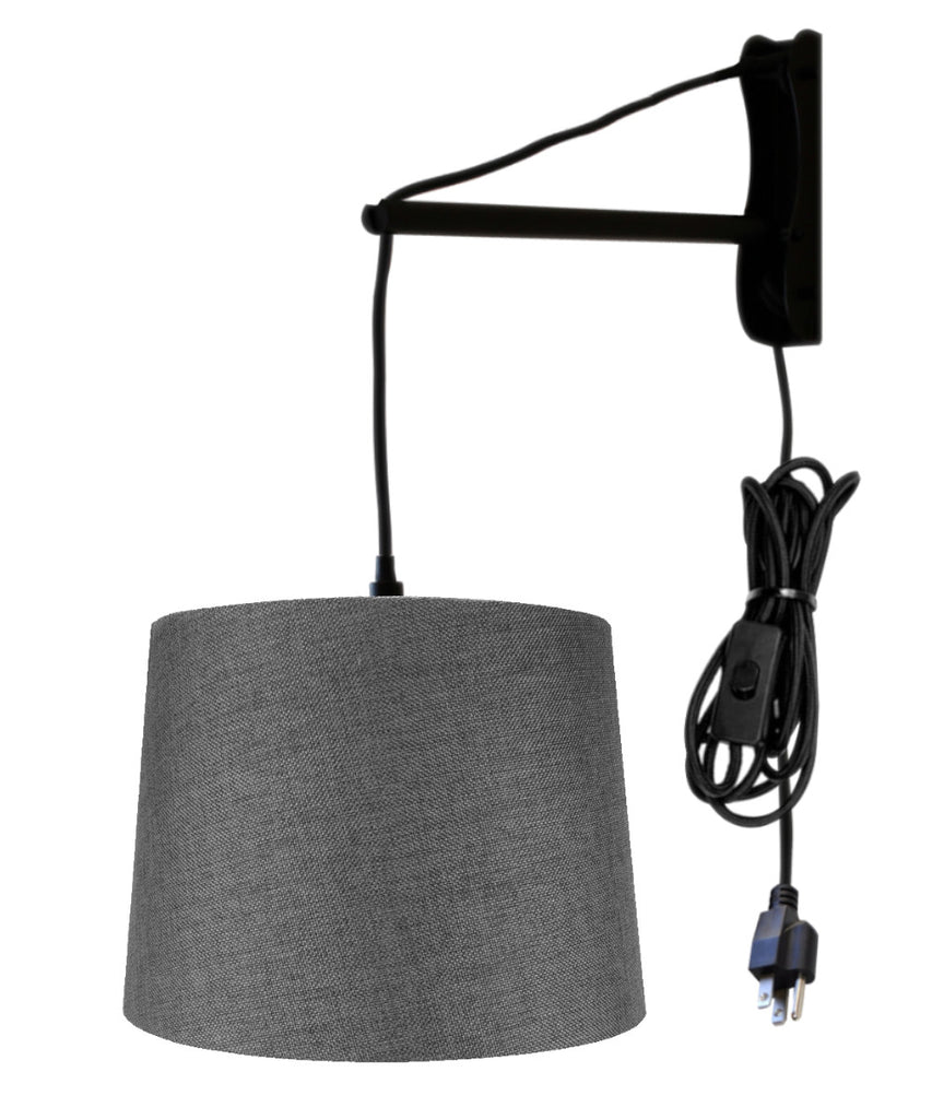 0-001999>MAST Plug-In Wall Mount Pendant, 1 Light Black Cord/Arm, Granite Gray Shade 12x14x10