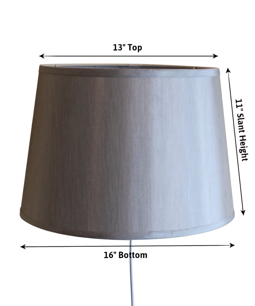 Floating Shade Plug-In Wall Light Bavarian Gray Fabric, Silver Liner 13x16x11