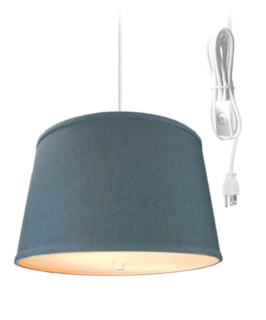 0-002080>2 Light Swag Plug-In Pendant with Diffuser Textured Slate Blue