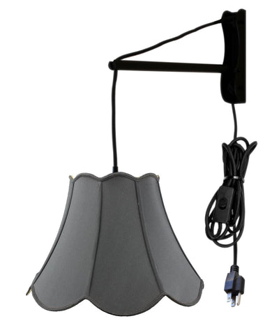 MAST Plug-In Wall Mount Pendant, 1 Light Black Cord/Arm, Black Shade 09x18x13