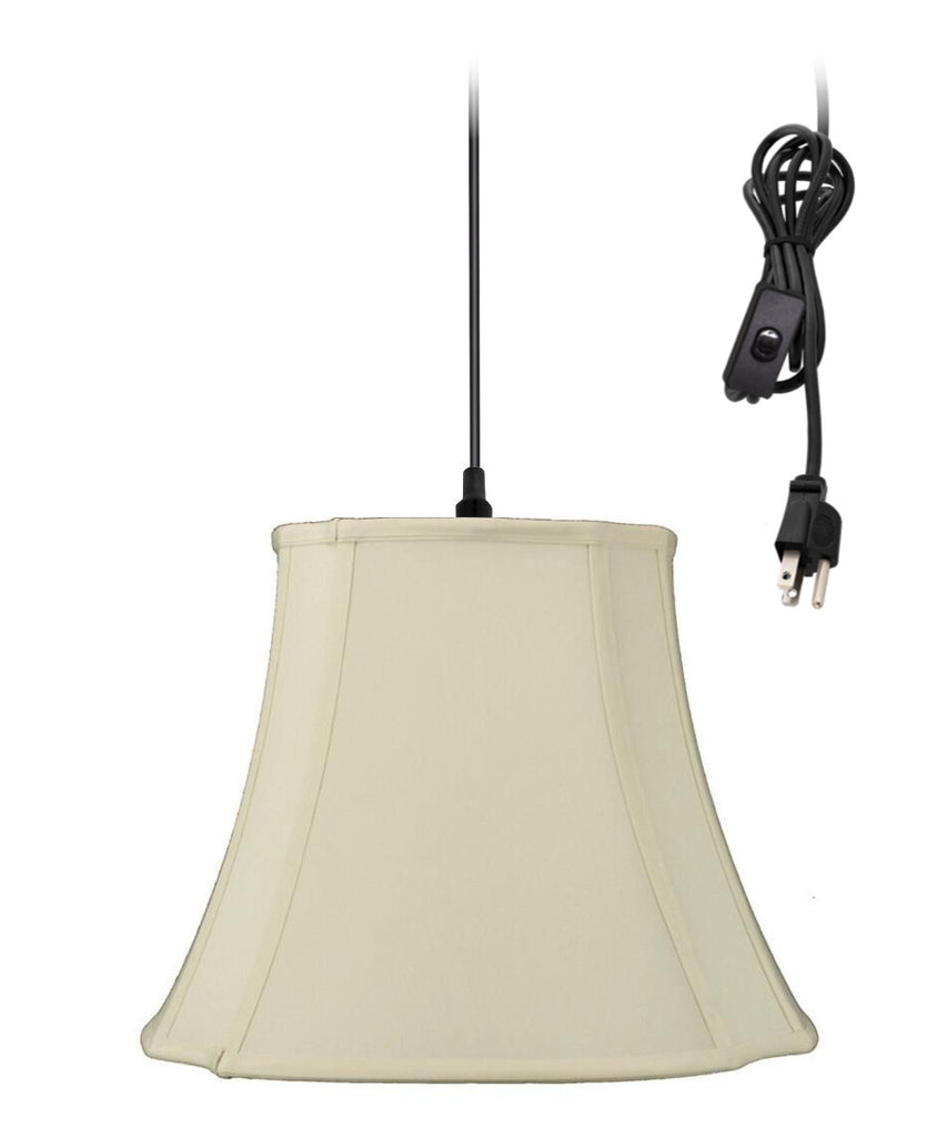 1-Light Plug In Swag Pendant Ceiling Light Eggshell Shade