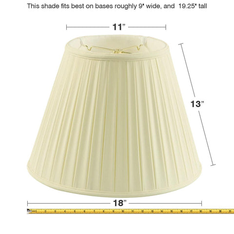 0-000057>11x18x13.5 Empire BoxPleat Egg Shell Lamp Shade
