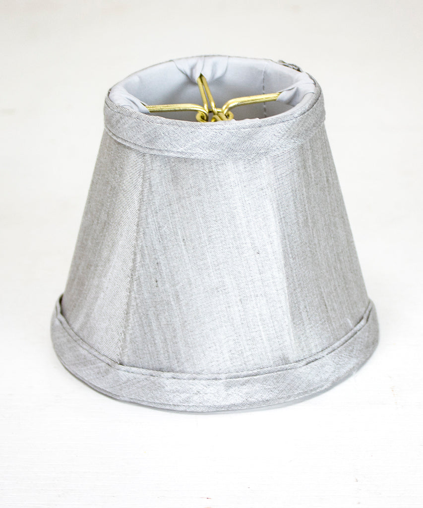 0-001051>3x5x4 Gray Stretch Clip-On Candlelabra Clip-On Lamp shade