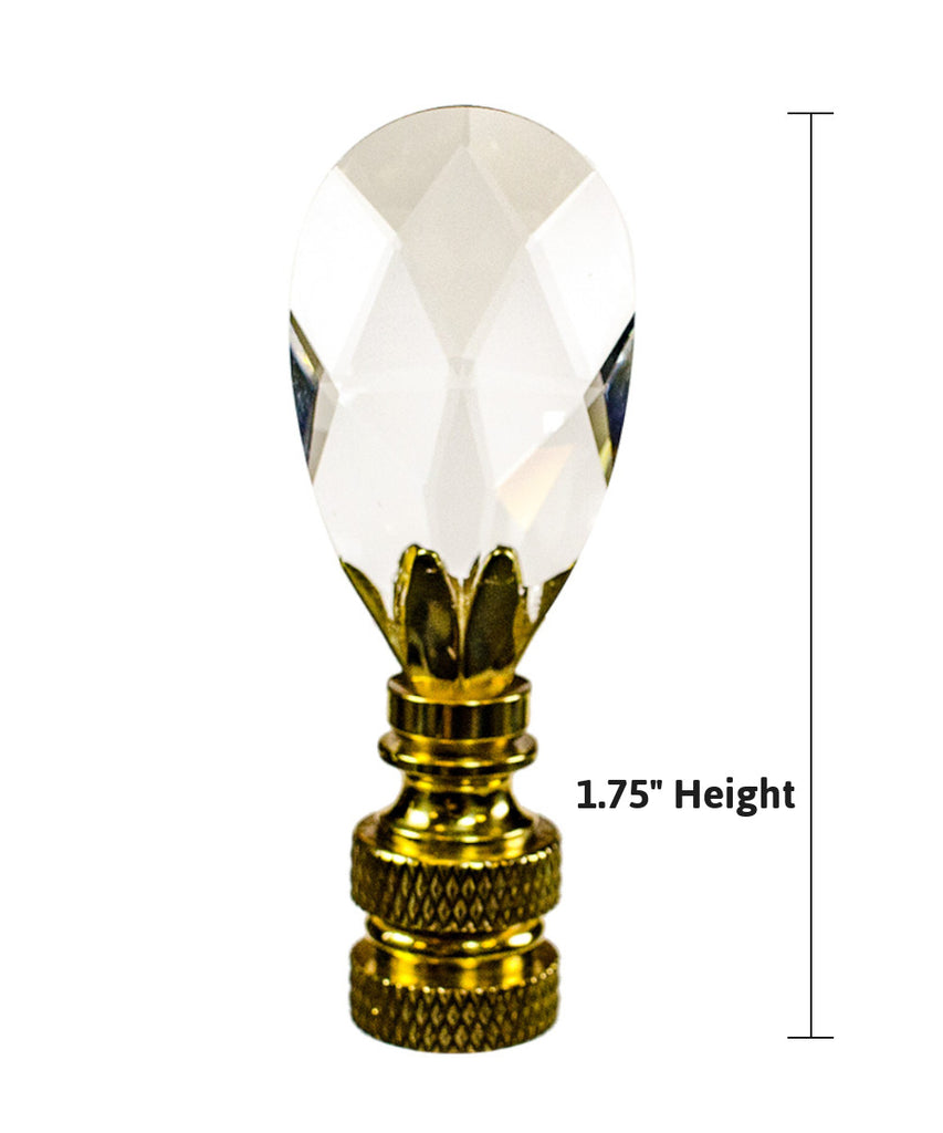 "0-001038>Stephanov Crystal Small Tear Drop Lamp Finial Polished Brass 2.5""h"