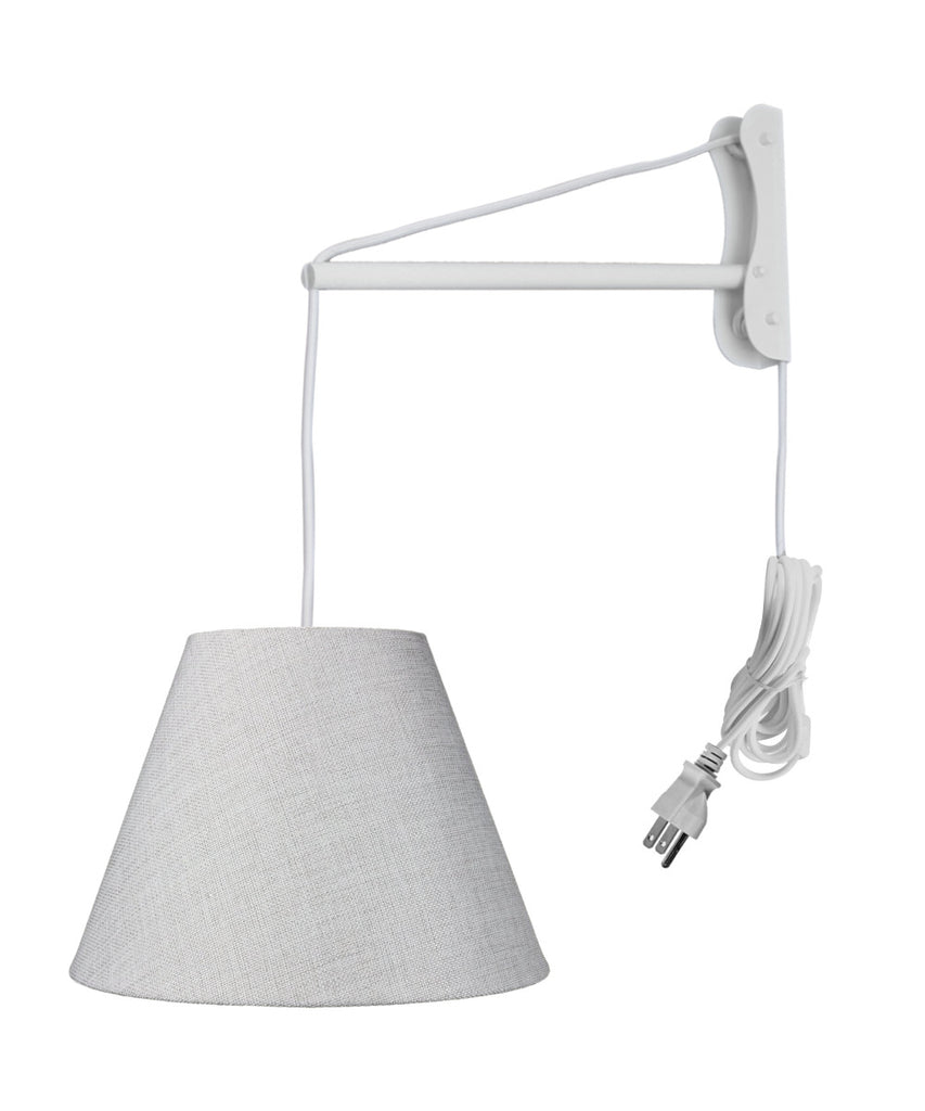 0-002322>MAST Plug-In Wall Mount Pendant, 1 Light White Cord/Arm, Khaki Burlap Shade 06x12x09