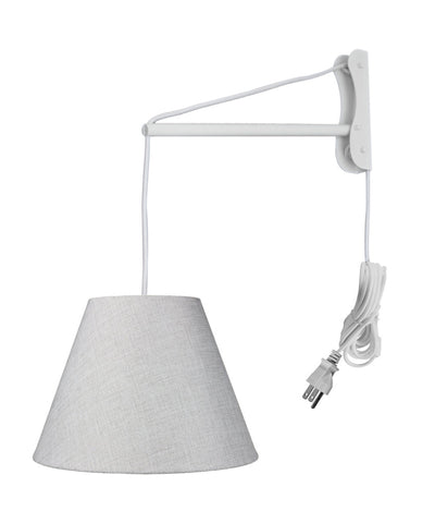 MAST Plug-In Wall Mount Pendant, 1 Light White Cord/Arm, Khaki Burlap Shade 06x12x09