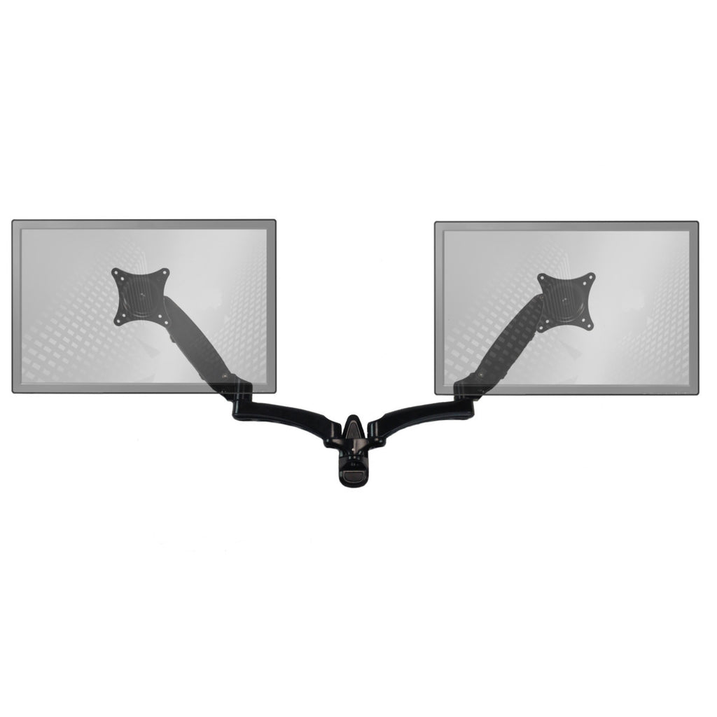 0-002136>Sit-Stand Wall Mount Monitor Arm: Extended Dual Screen Black