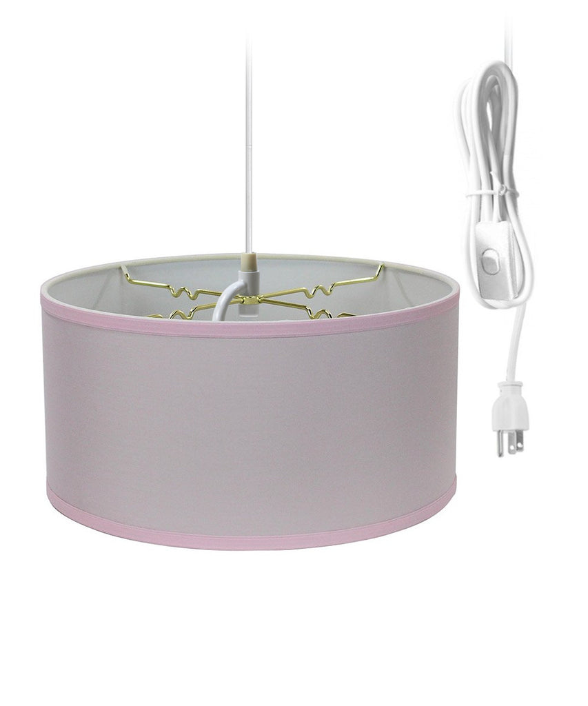 0-000769>Pale Dogwood Pink 2 Light Swag Plug-In Pendant with Diffuser