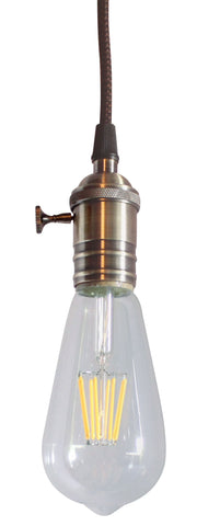 0-004124>Antique Brass Bare Bulb 1 Light Pendant with Retro Switch on Socket by Home Concept