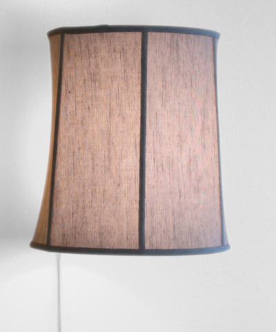 0-000943>Floating Shade Plug-In Wall Light Textured Oatmeal Fabric 14x16x17