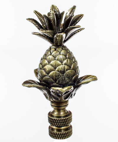 "0-003170>Blooming Pineapple Lamp Finial Antique Brass Metal  3""h"