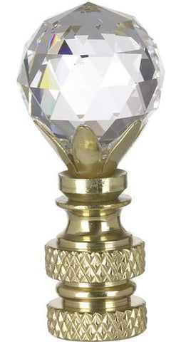 "0-000732>Stephanov Multi-Faceted Lamp Finial Crystal Ball Polished Brass Finish 2""h"