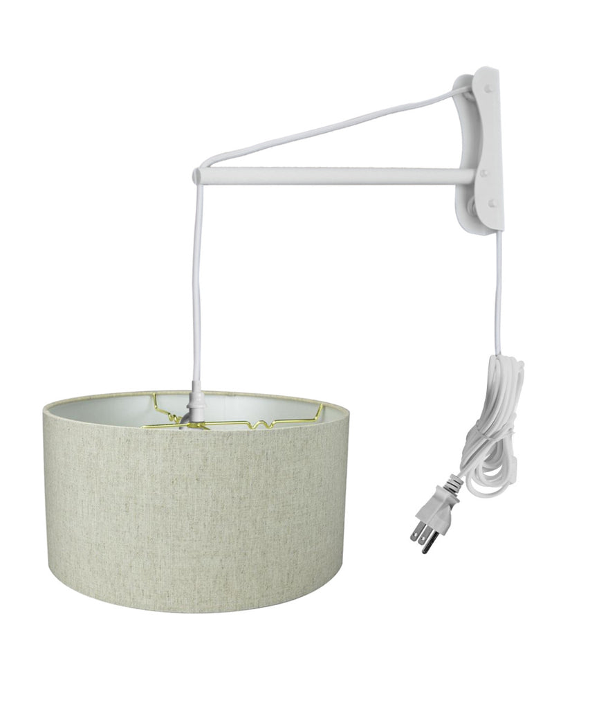 0-001642>MAST Plug-In Wall Mount Pendant, 2 Light White Cord/Arm with Diffuser, Textured Oatmeal Shade 16x16x08