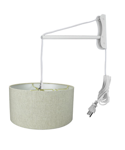 MAST Plug-In Wall Mount Pendant, 2 Light White Cord/Arm with Diffuser, Textured Oatmeal Shade 16x16x08