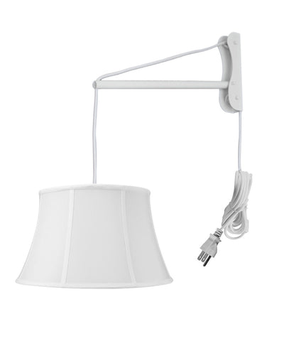 MAST Plug-In Wall Mount Pendant, 2 Light White Cord/Arm with Diffuser, White Shade 12x17x10