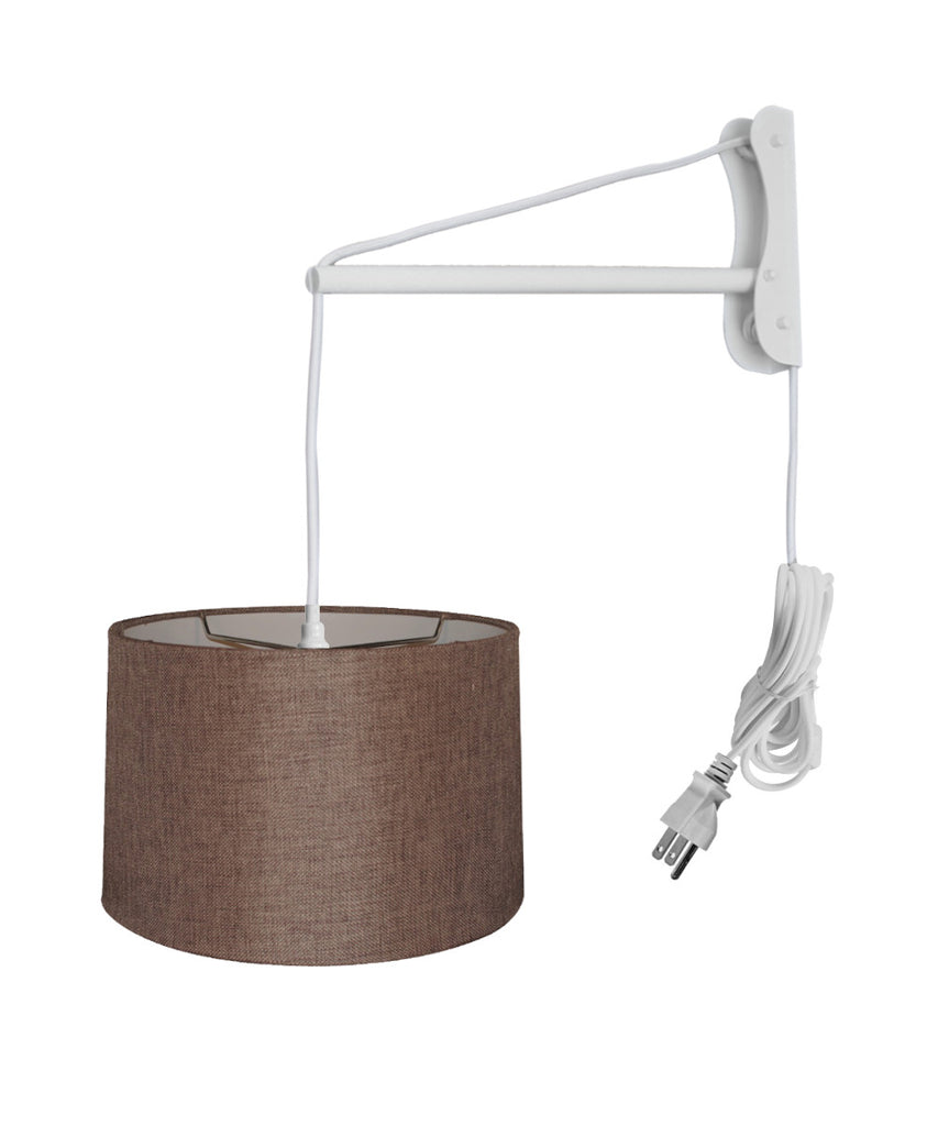 0-002730>MAST Plug-In Wall Mount Pendant, 1 Light White Cord/Arm, Chocolate Burlap 12x14x10