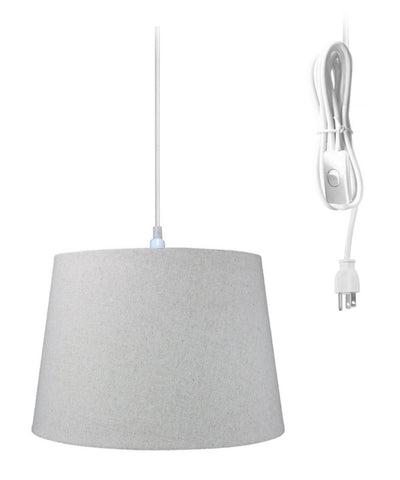 0-000238>1-Light Plug In Swag Pendant Ceiling Light Sand Linen Shade