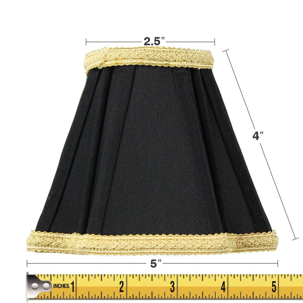 0-000663>2x5x5 Black with Gold Liner Chandelier Clip-On Lampshade