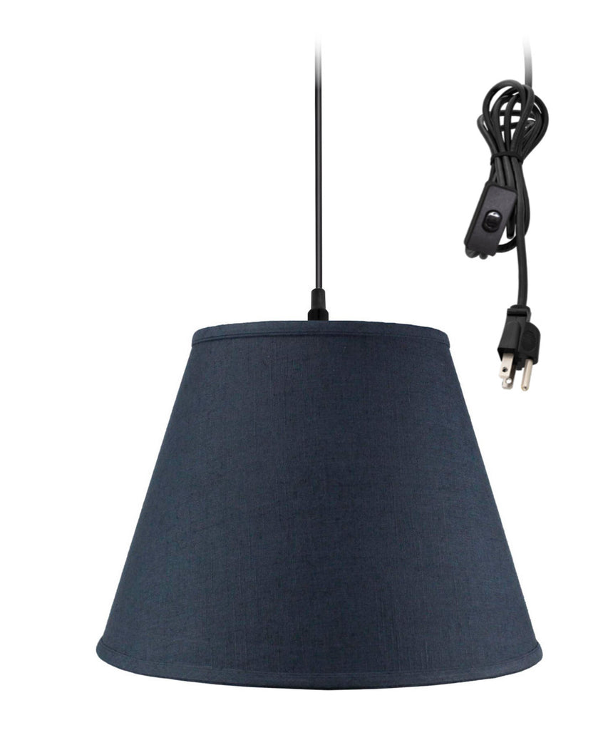 0-002000>1 Light Swag Plug-In Pendant Hanging Lamp Textures Slate Blue