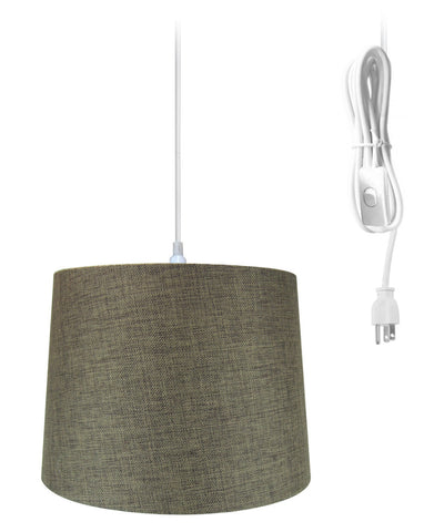 "0-019617>14""w 1-Light Plug-In Swag Pendant Lamp Chocolate Burlap"