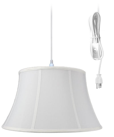 0-000919>1-Light Plug In Swag Pendant Ceiling Light White Shade