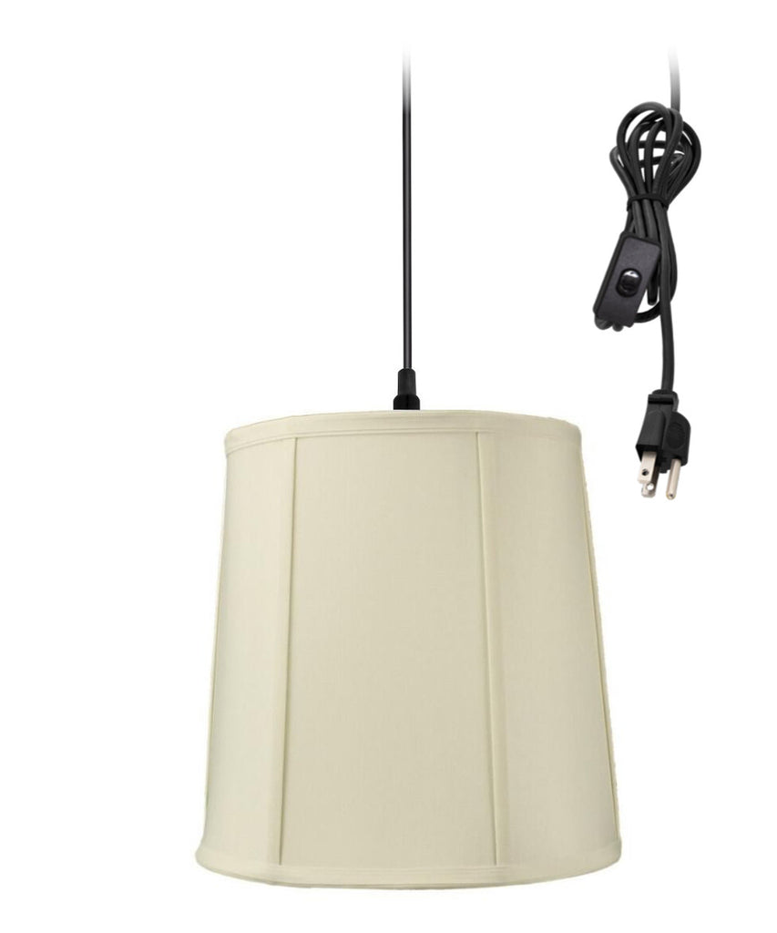 0-002000>1-Light Plug In Swag Pendant Lamp Eggshell Shade
