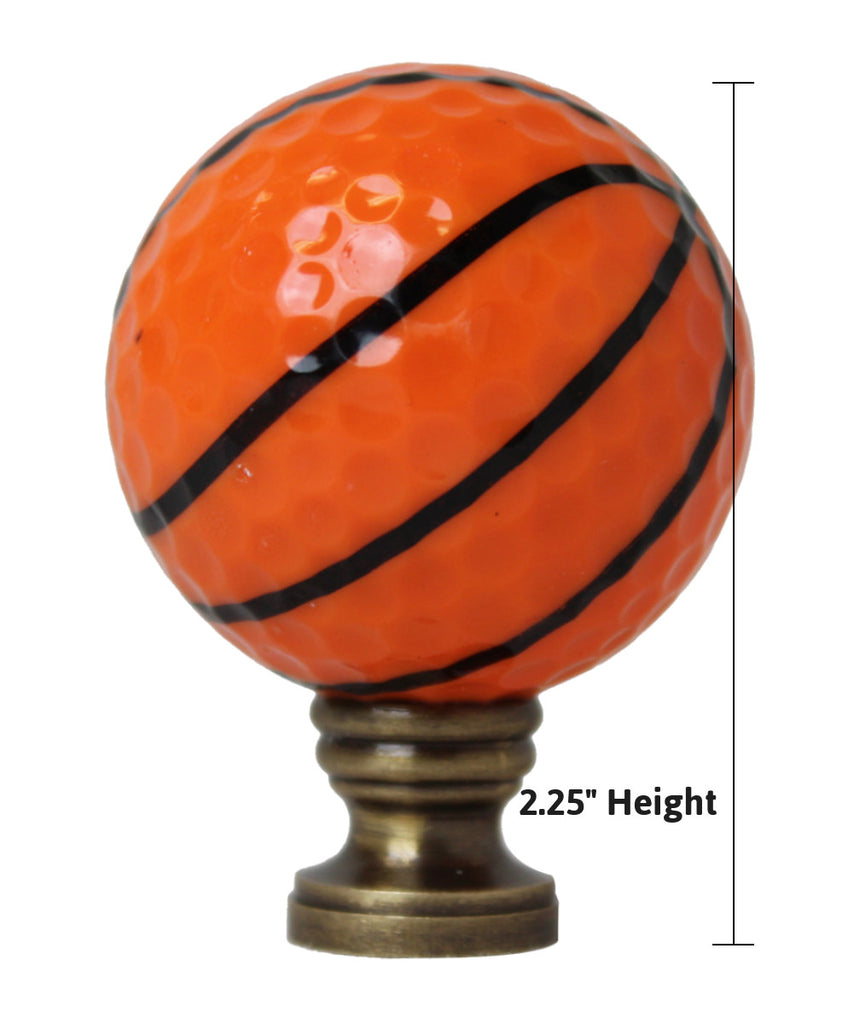 "0-009301>Basketball Lamp Finial, Orange with Black Lining 2.25""h"